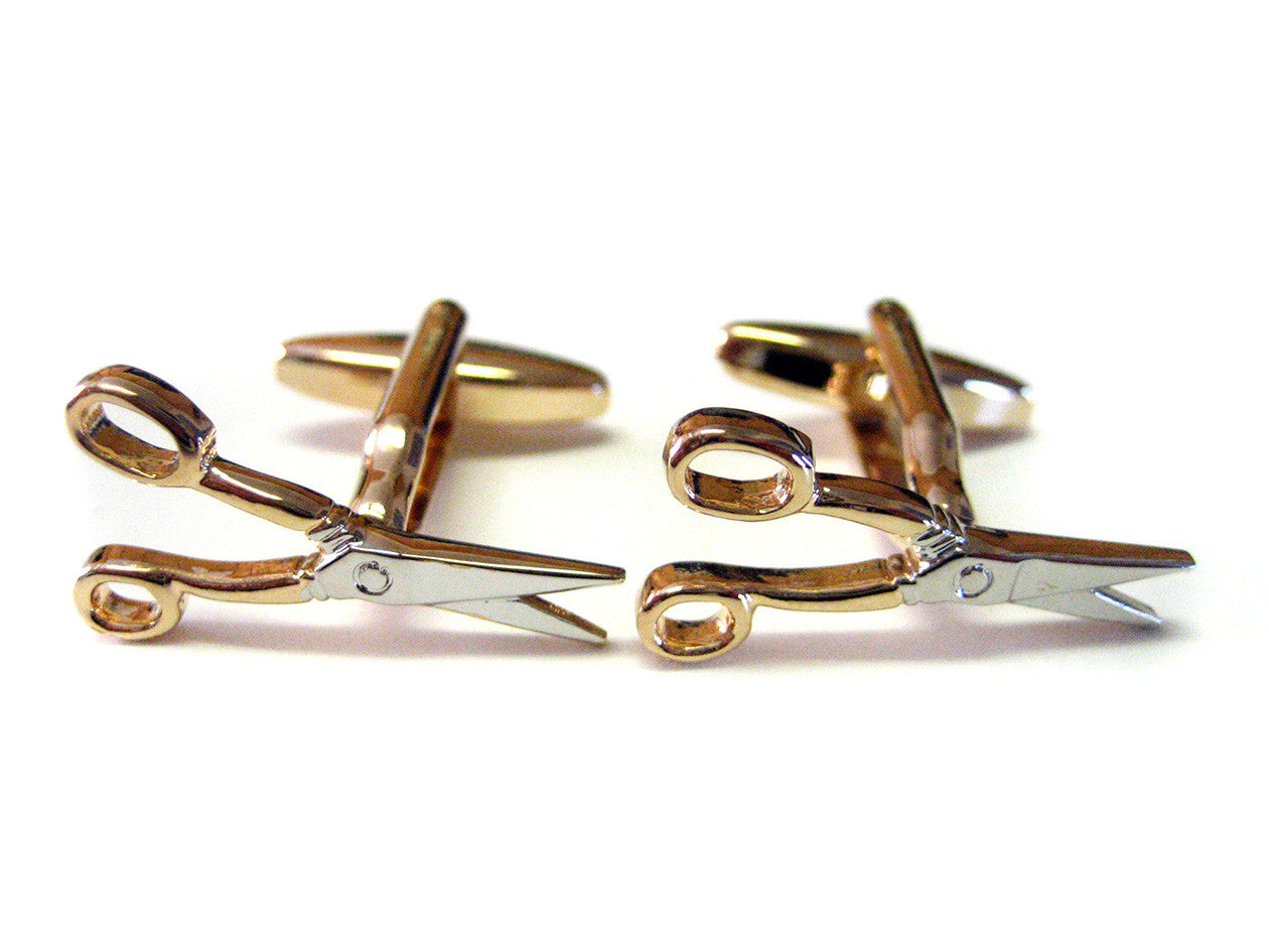 Golden Two Toned Barber Scissor Cufflinks