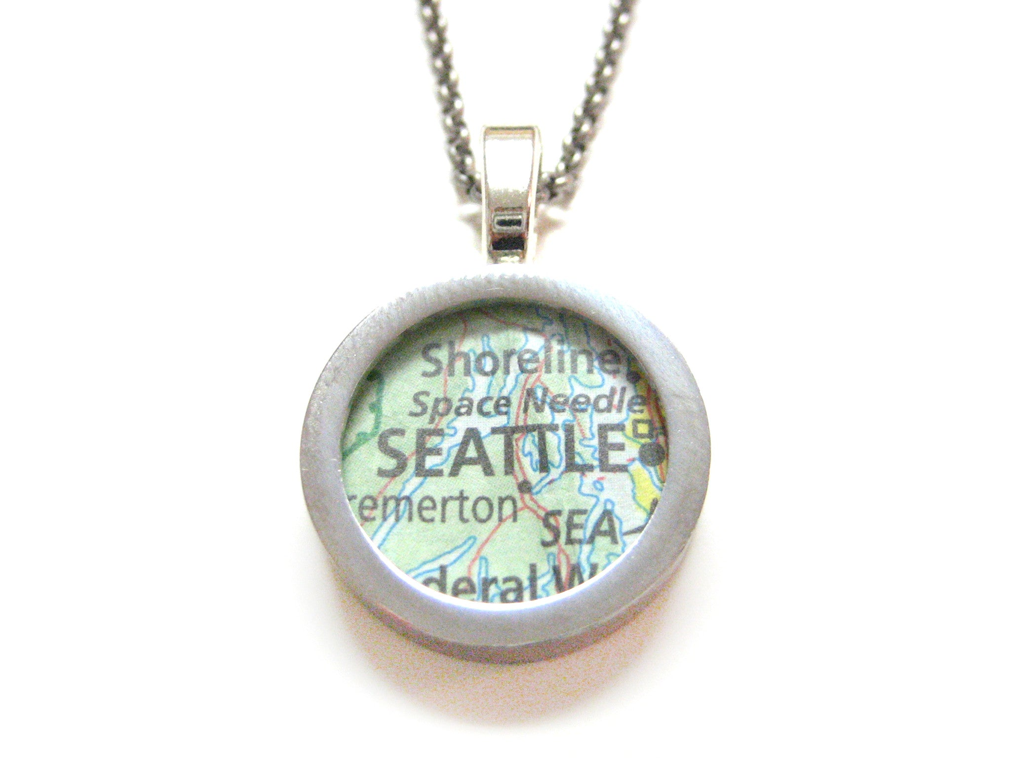 Seattle Washington Map Pendant Necklace