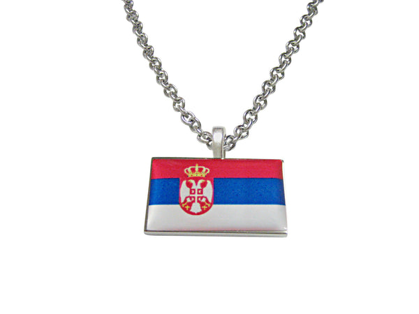 Serbia Flag Pendant Necklace