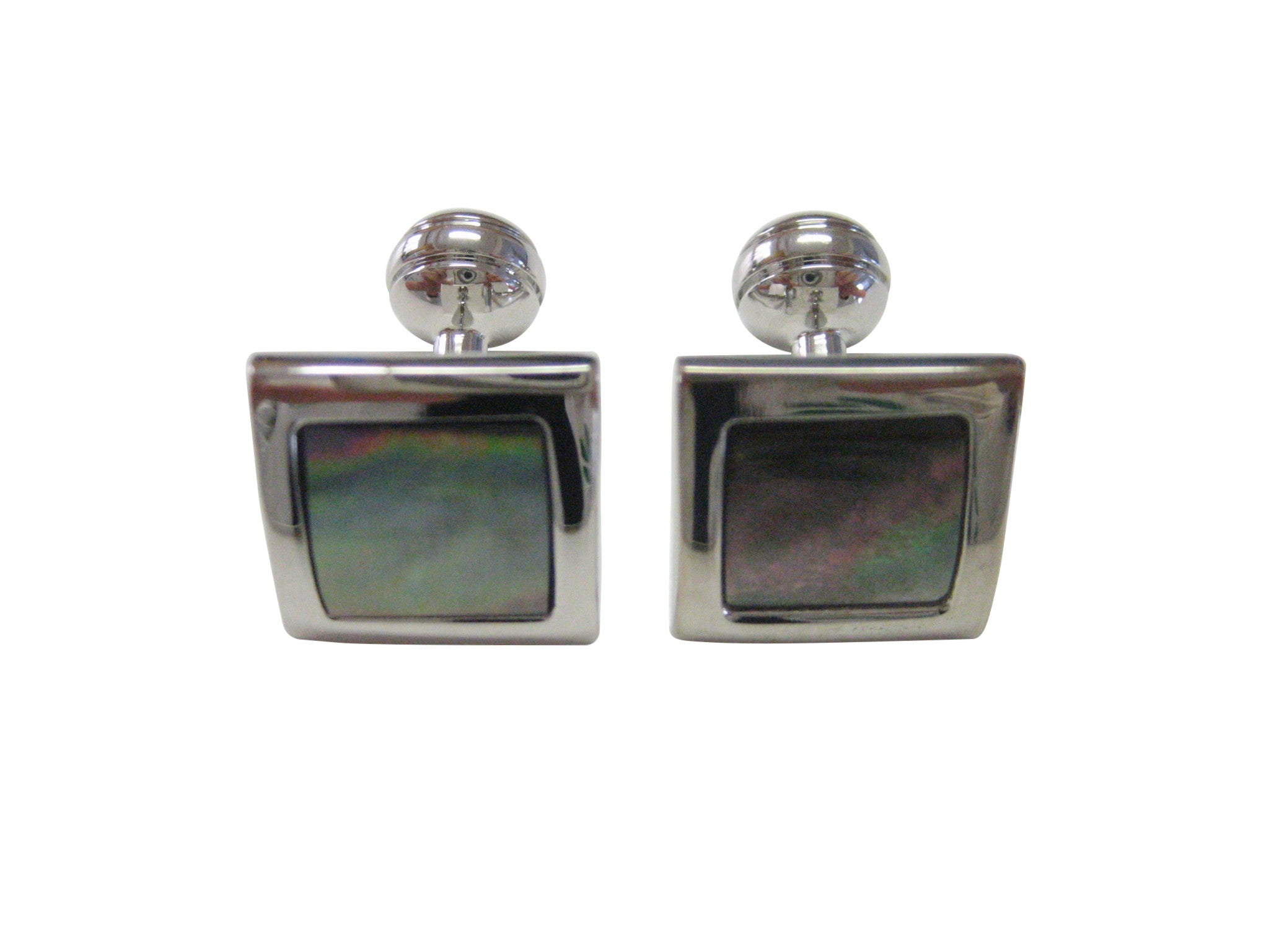 Shell Design Silver Toned Square Cufflinks