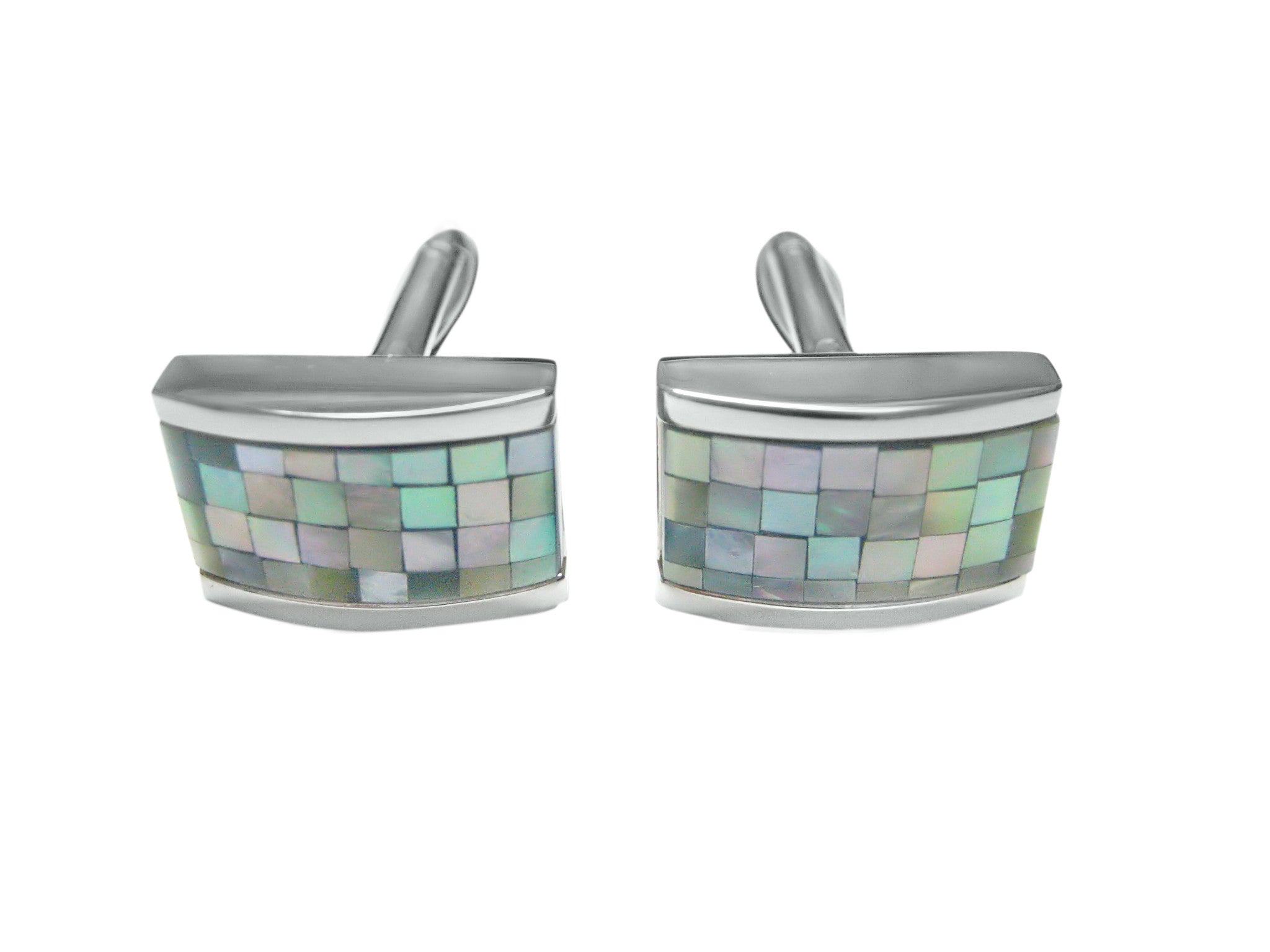 Curved Shell Mosaic Design Cufflinks