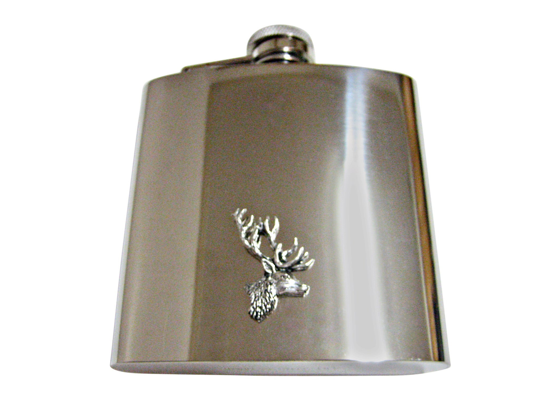 Side Facing Stag Deer Head 6 Oz. Stainless Steel Flask