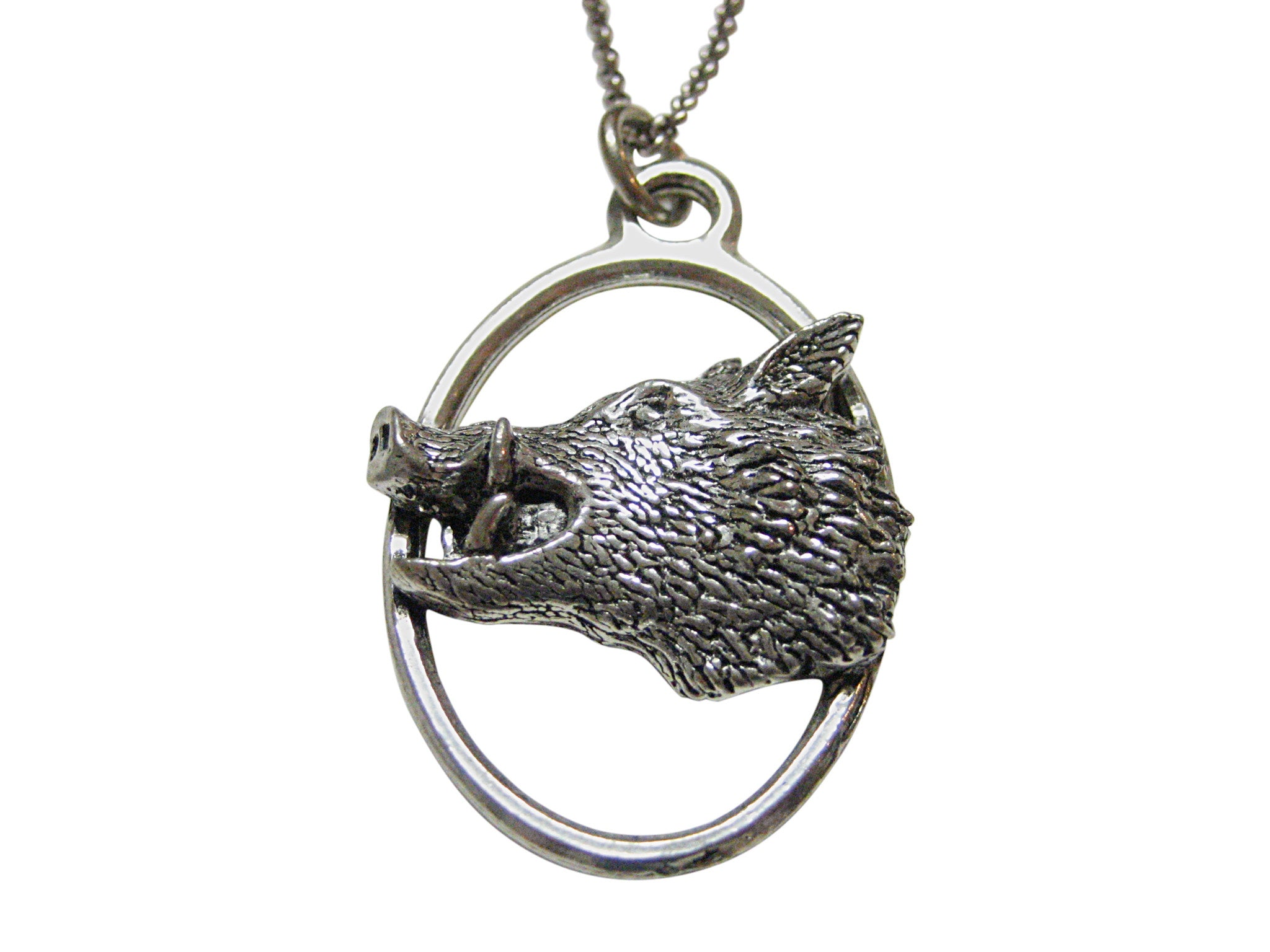 Side Facing Wild Boar Hog Head Large Oval Pendant Necklace