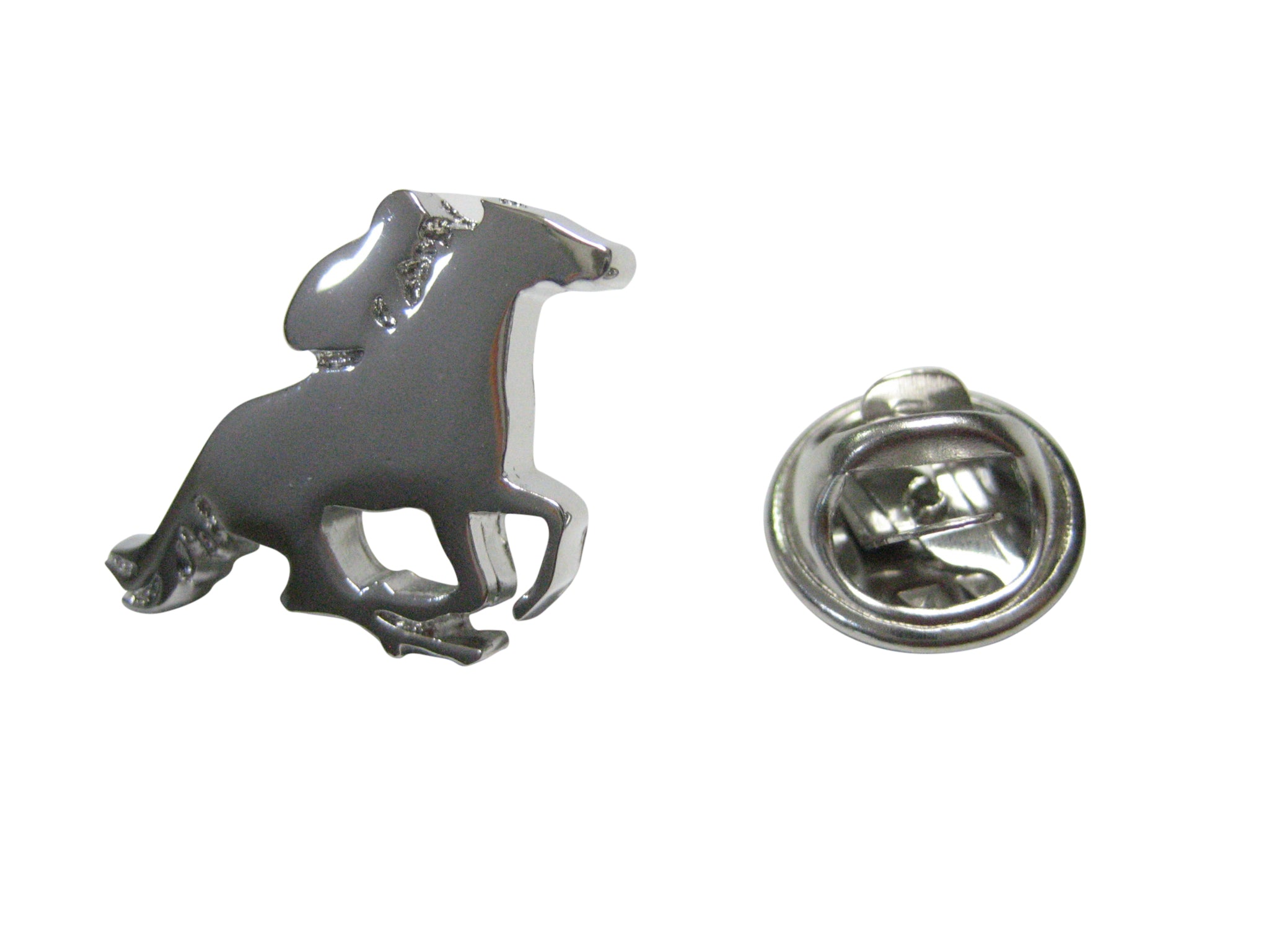 Silver Toned Horse Jockey Outline Lapel Pin