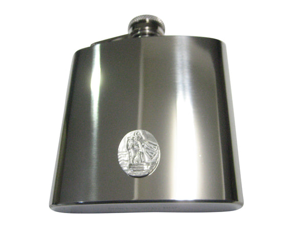 Silver Toned Oval Saint Christopher 6oz Flask