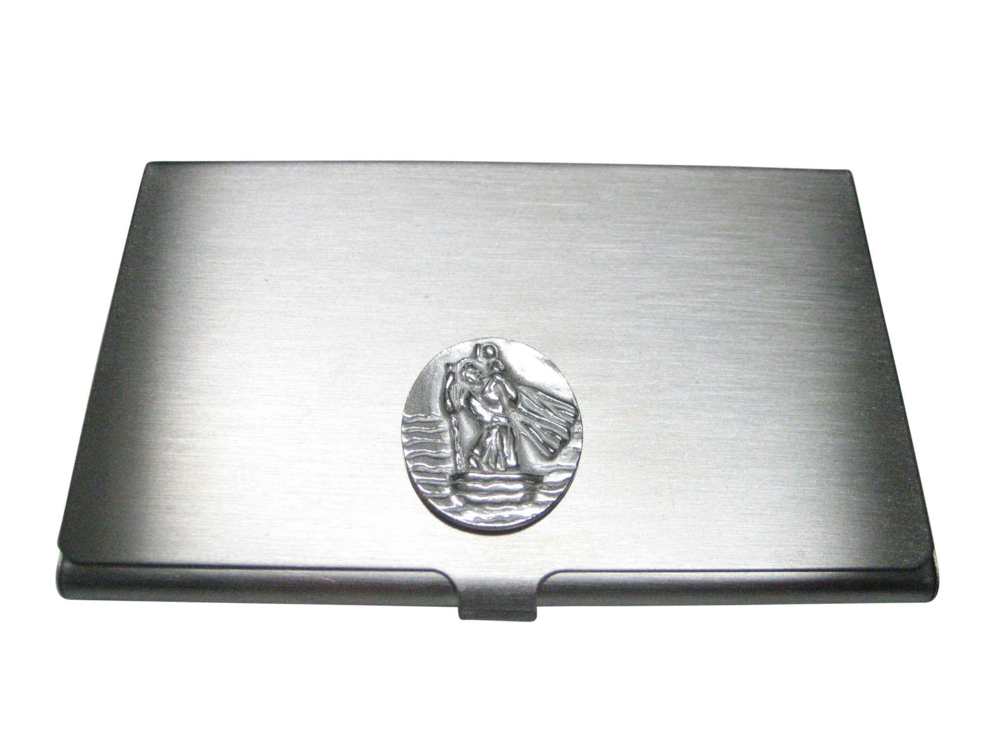 Silver Toned Oval Saint Christopher Business Card Holder