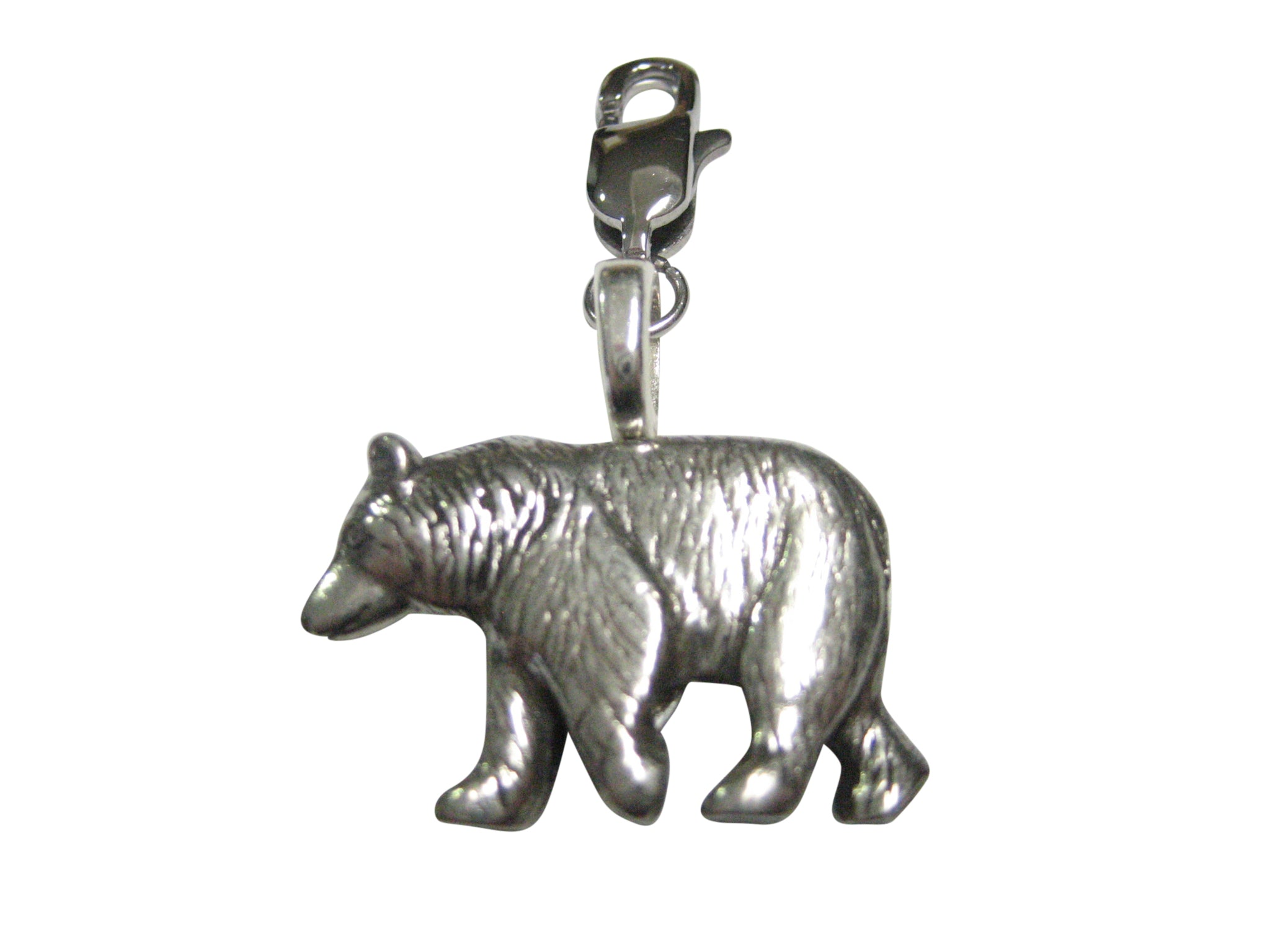 Silver Toned Walking Bear Pendant Zipper Pull Charm
