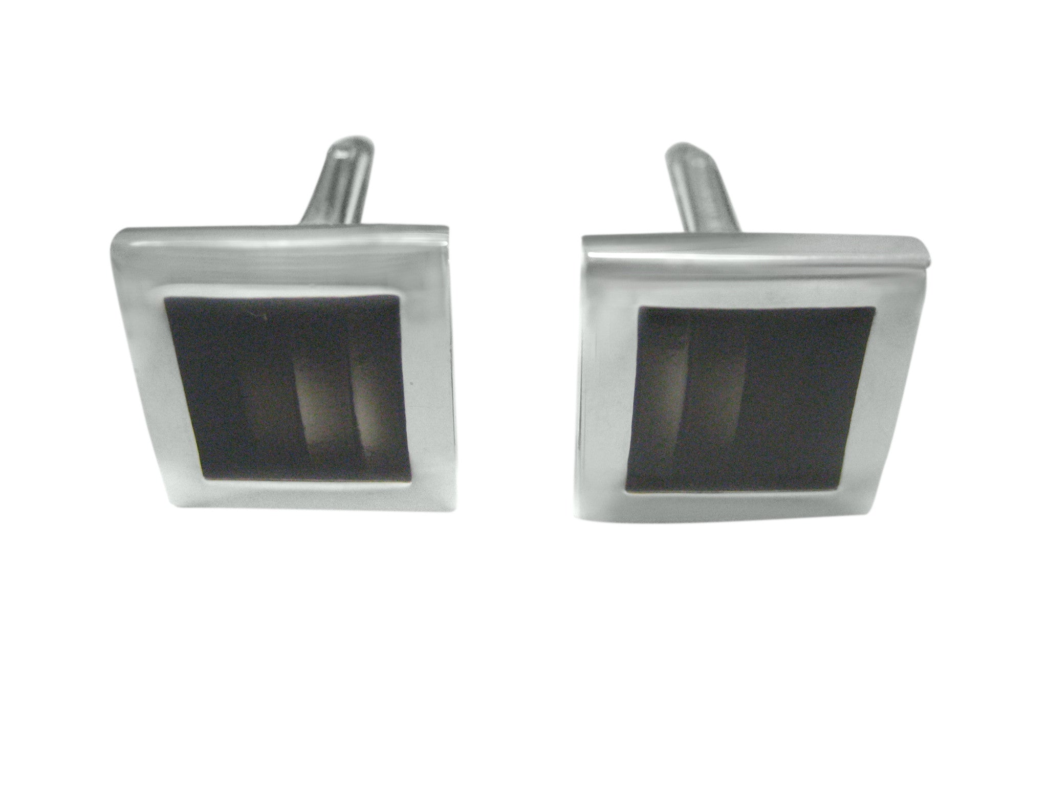 Silver Bordered Gray Square Cufflinks