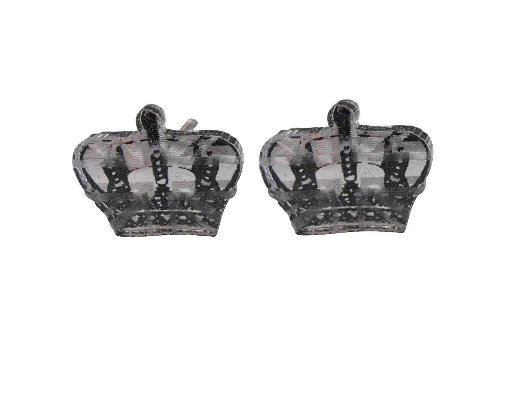 Silver Toned Resin Crown Cufflinks
