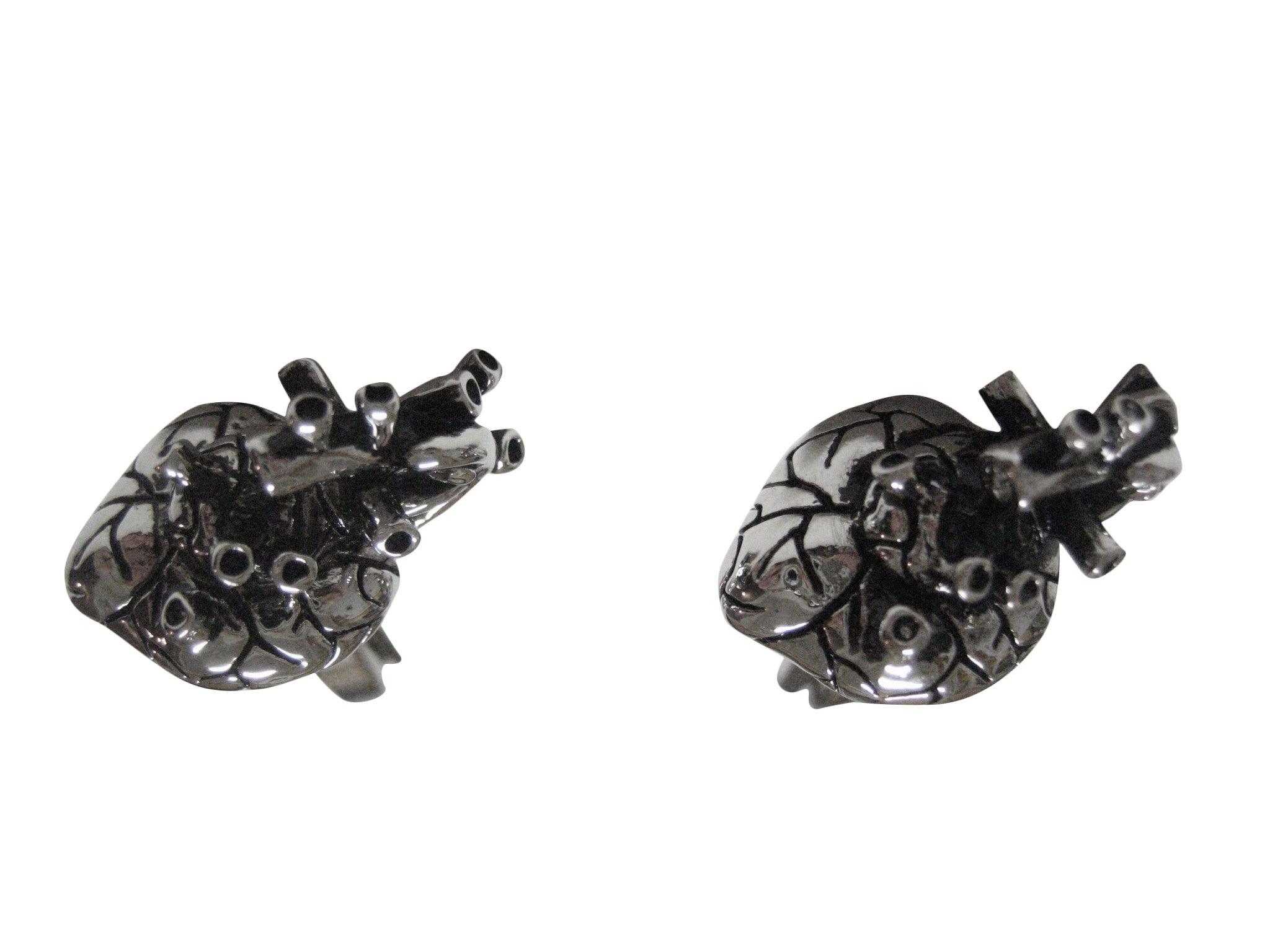 Silver Toned Anatomical Heart Cufflinks