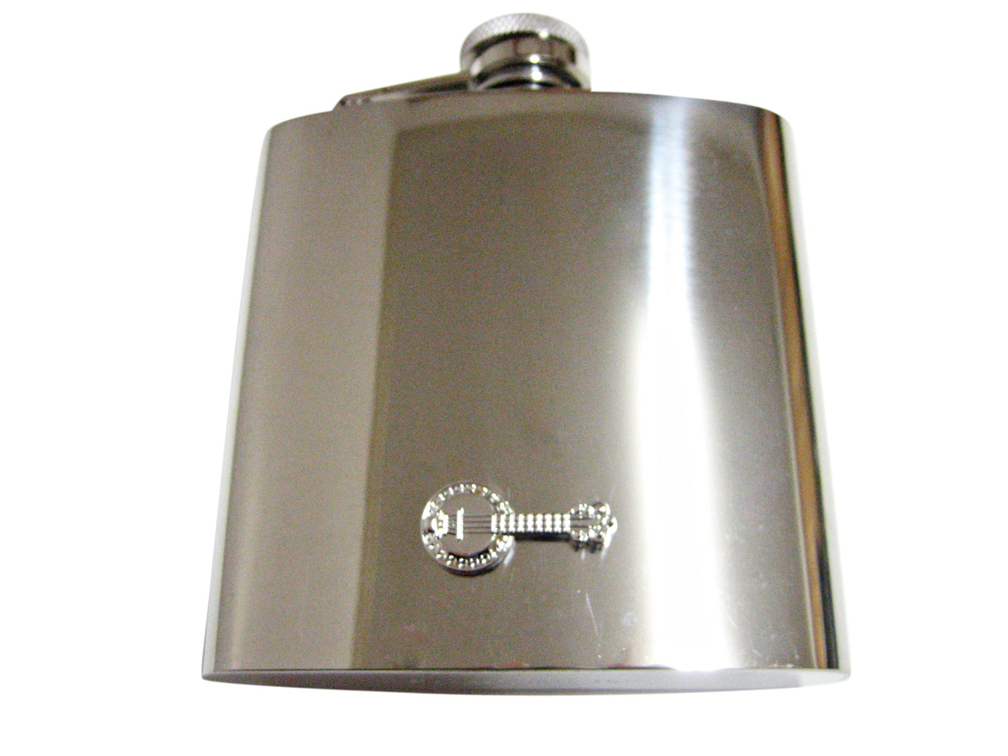 Silver Toned Banjo Musical Instrument 6 Oz. Stainless Steel Flask