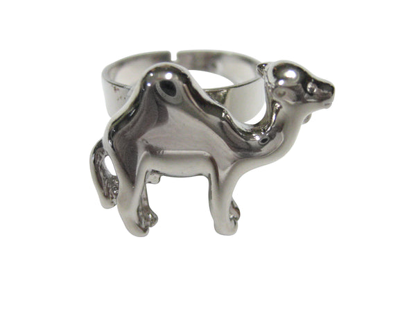 Silver Toned Camel Adjustable Size Fashion Ring