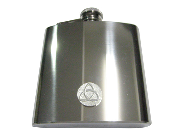 Silver Toned Circular Celtic Trinity Knot 6oz Flask