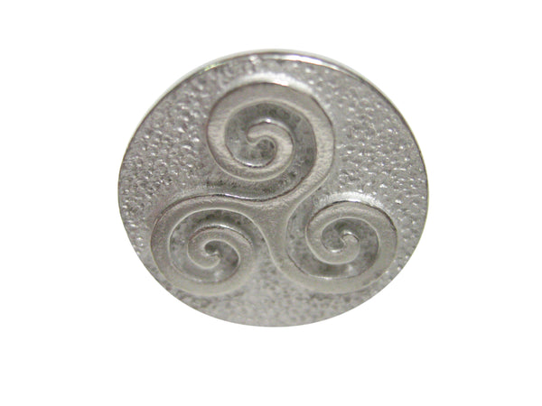 Silver Toned Circular Celtic Triple Tiskelion Spiral Adjustable Size Fashion Ring