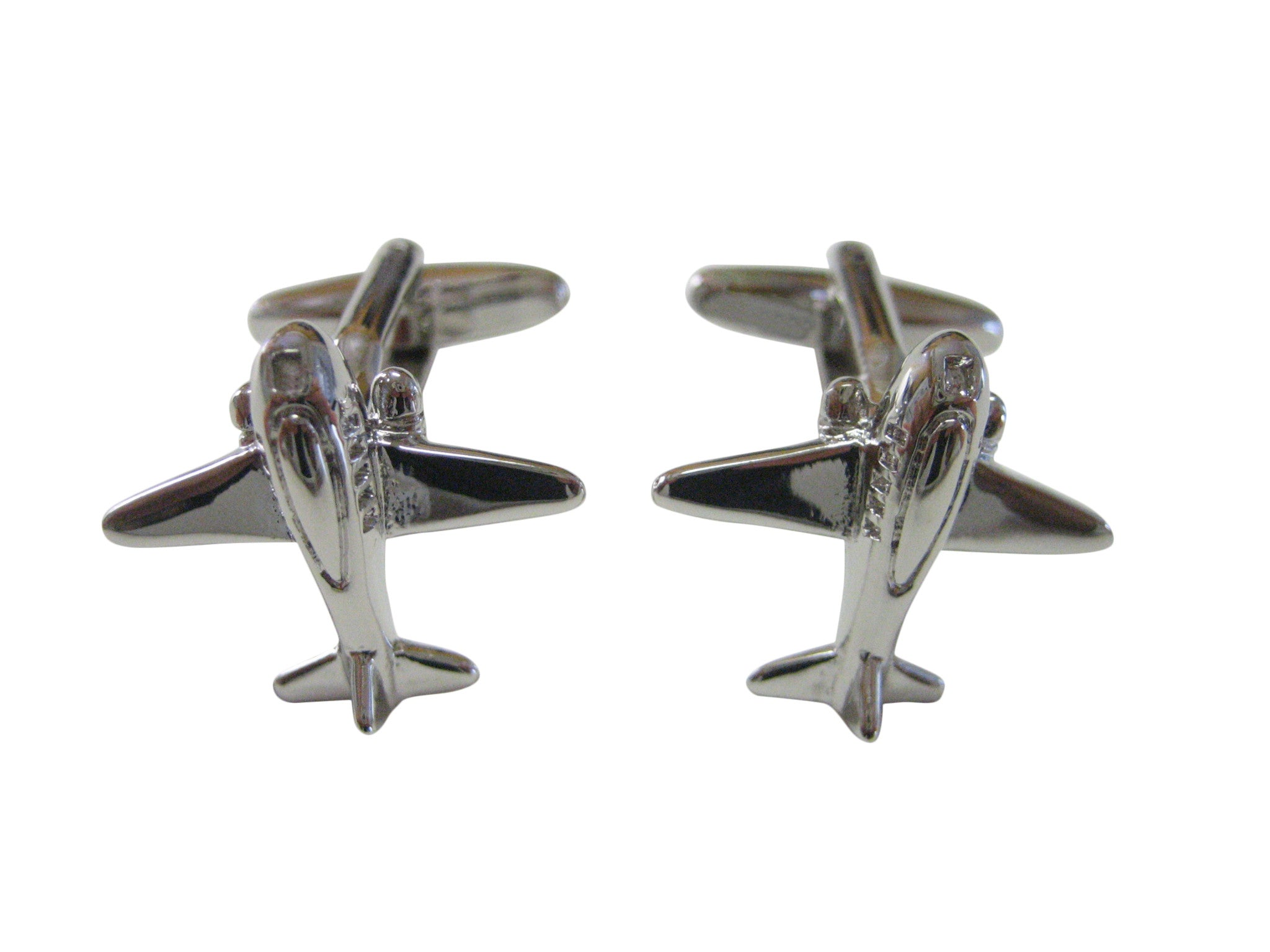 Silver Toned Commercial Plane Cufflinks