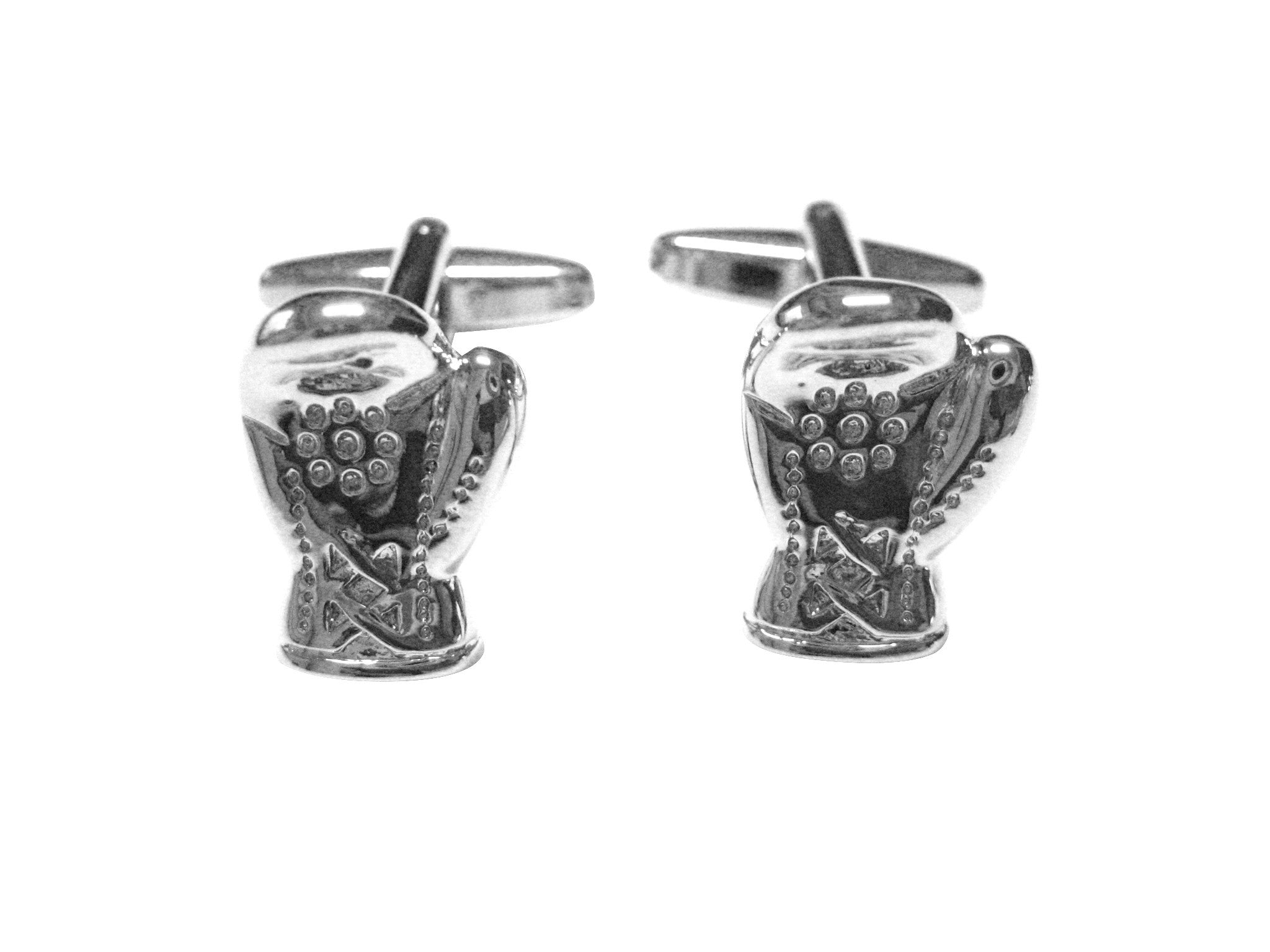 Silver Toned Crystalled Boxing Glove Cufflinks