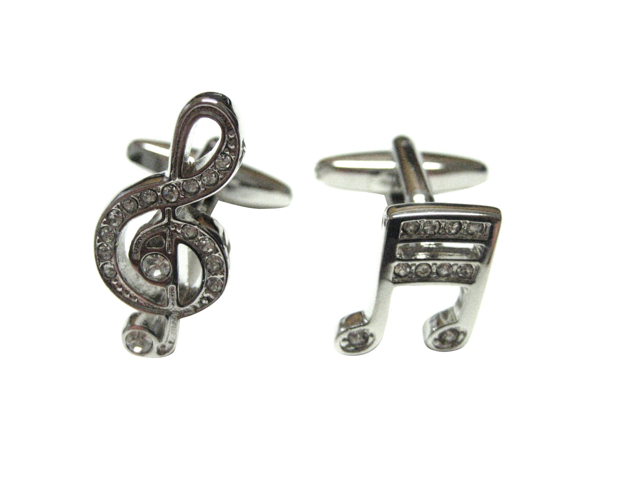 Silver Toned Crystalled Various Musical Notes Cufflinks