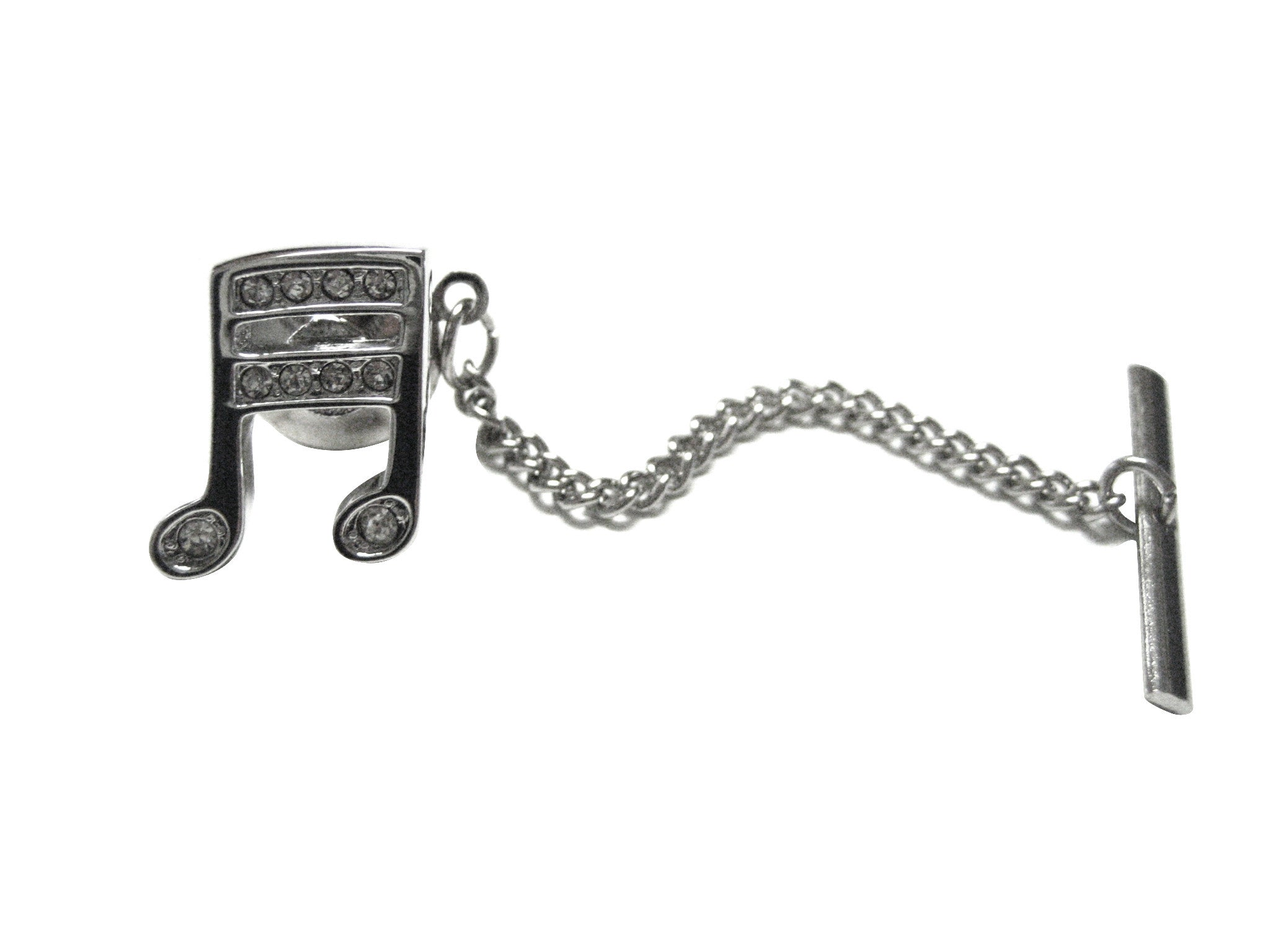 Silver Toned Crystalled Musical Note Tie Tack