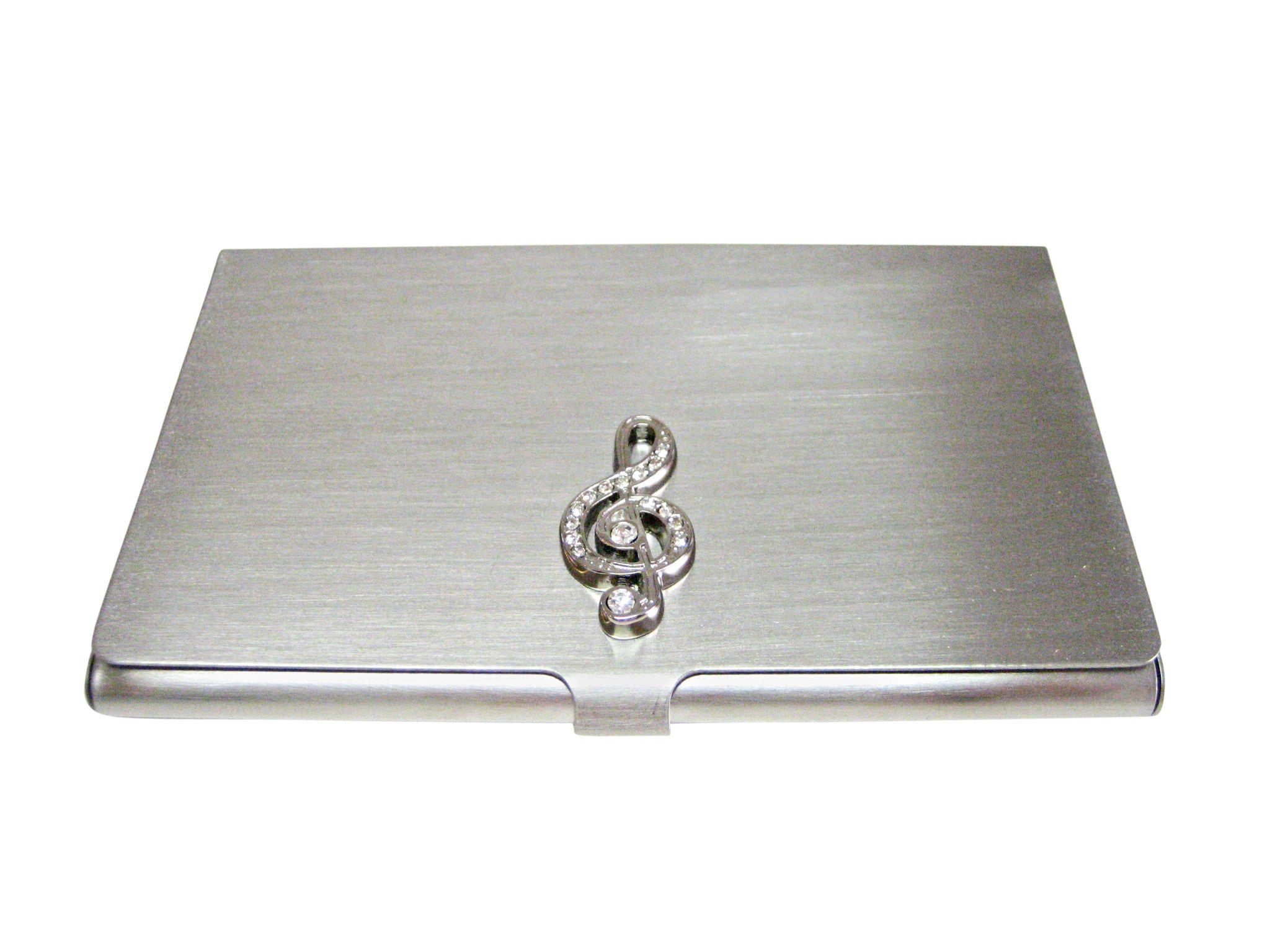 Silver Toned Crystalled Treble Musical Note Business Card Holder