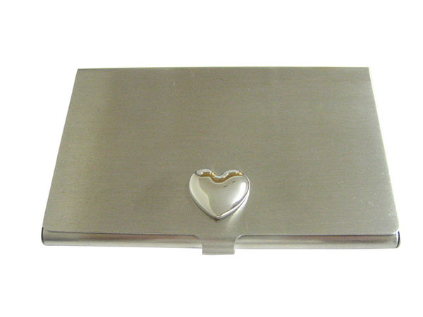 Silver Toned Curved Heart Wedding Business Card Holder