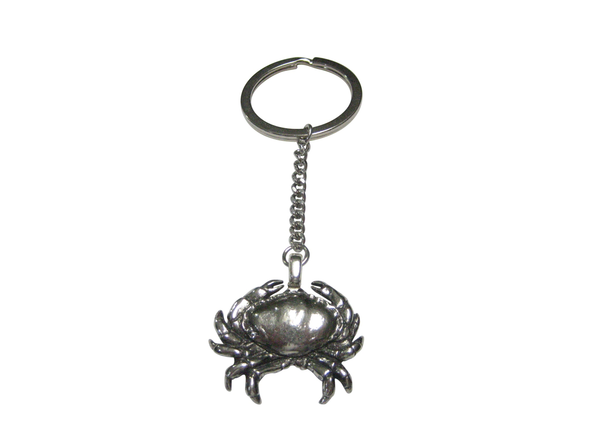Silver Toned Detailed Crab Pendant Keychain