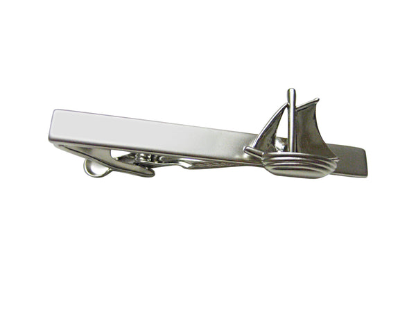 Silver Toned Detailed Sail Boat Tie Clip