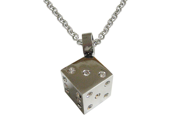 Silver Toned Dice Pendant Necklace