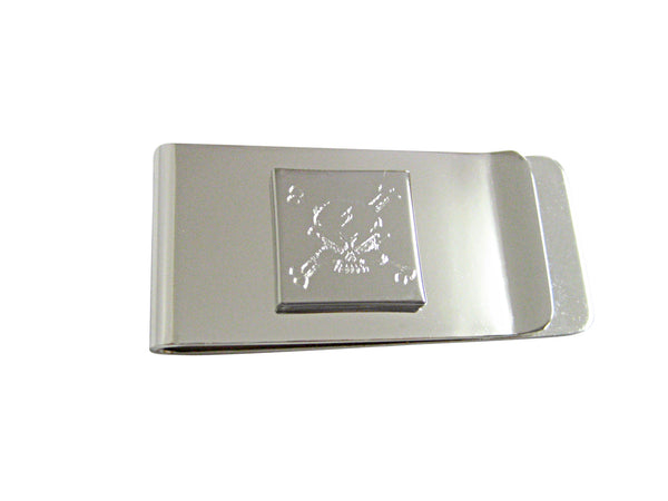 Silver Toned Etched Angry Skull and Crossbones Money Clip