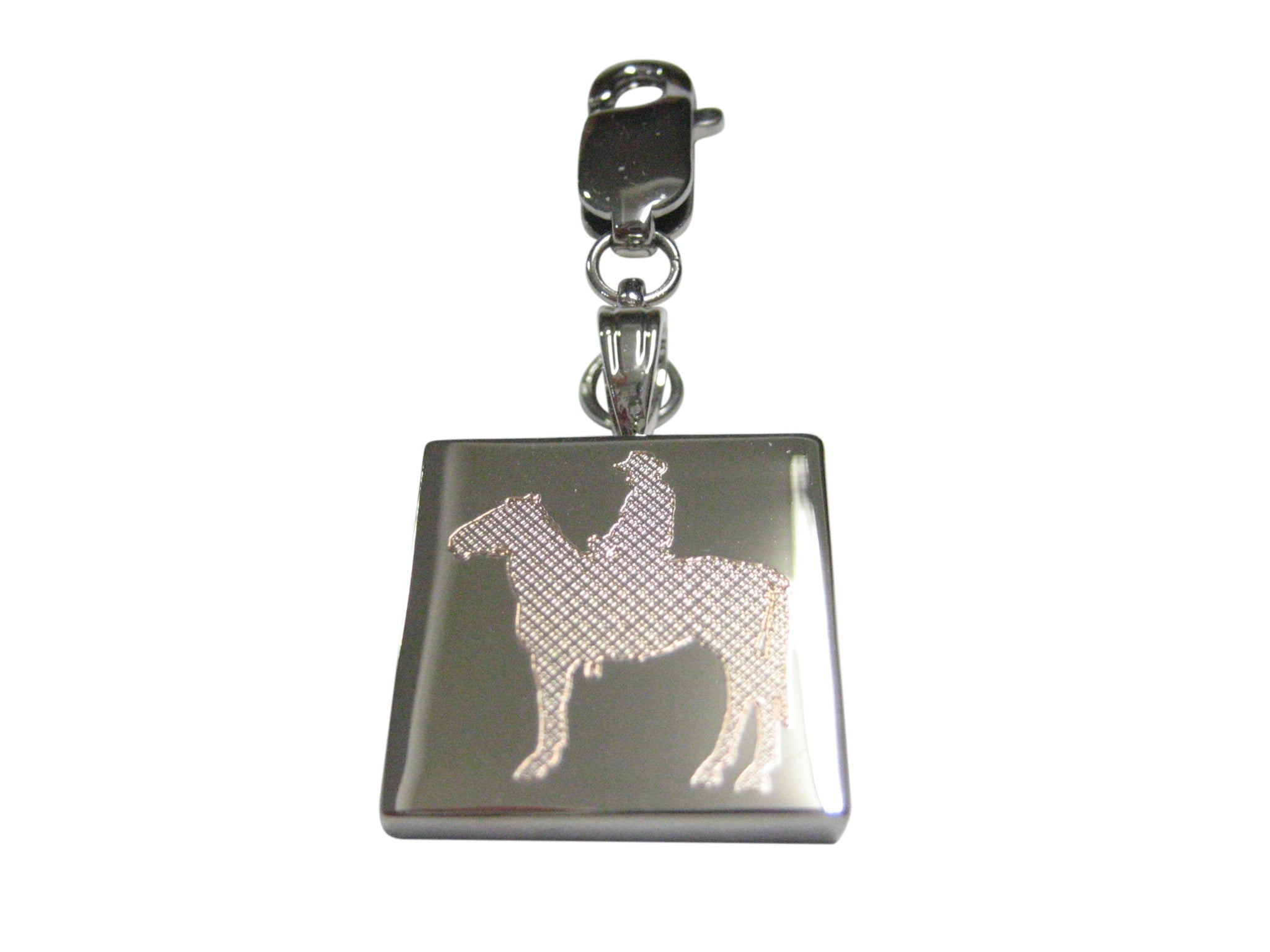 Silver Toned Etched Cowboy Pendant Zipper Pull Charm Pendant