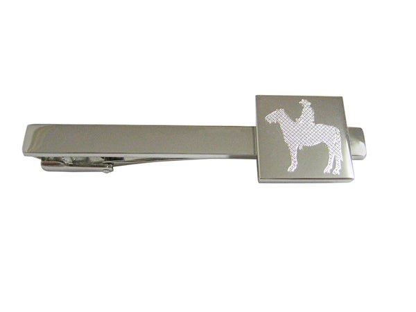 Silver Toned Etched Cowboy Square Tie Clip