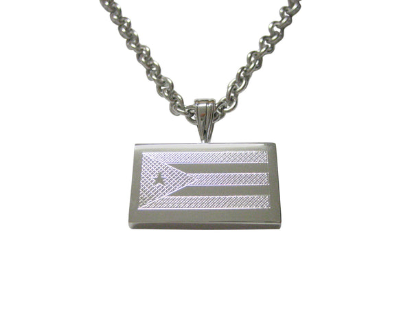 Silver Toned Etched Cuba Flag Pendant Necklace