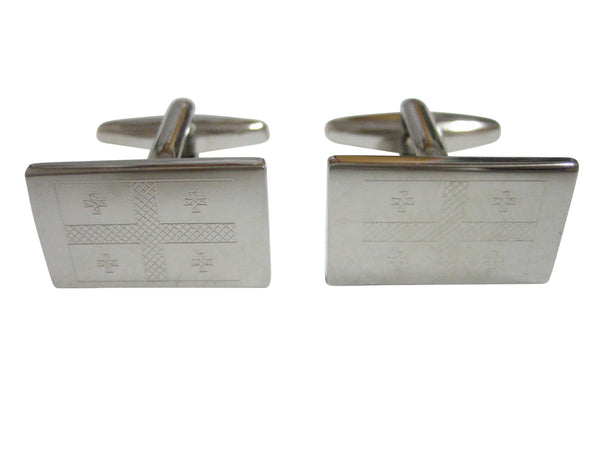 Silver Toned Etched Georgia Country Flag Cufflinks