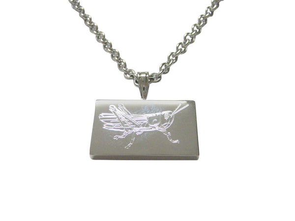 Silver Toned Etched Grasshopper Locust Insect Pendant Necklace