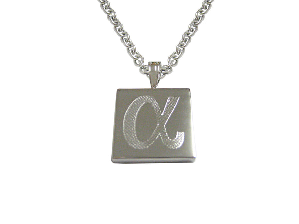 Silver Toned Etched Greek Letter Alpha Pendant Necklace