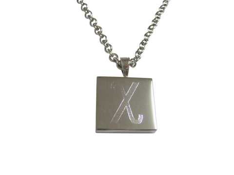 Silver Toned Etched Oval Greek Letter Xi Pendant Oval Trinket Jewelry Box