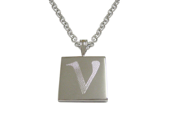 Silver Toned Etched Greek Letter Nu Pendant Necklace