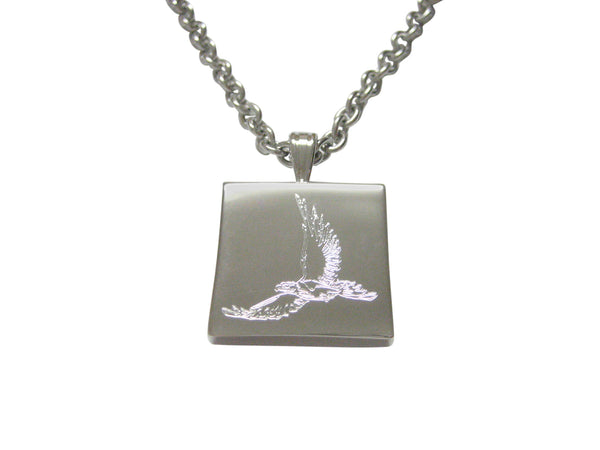Silver Toned Etched Hawk Bird Pendant Necklace