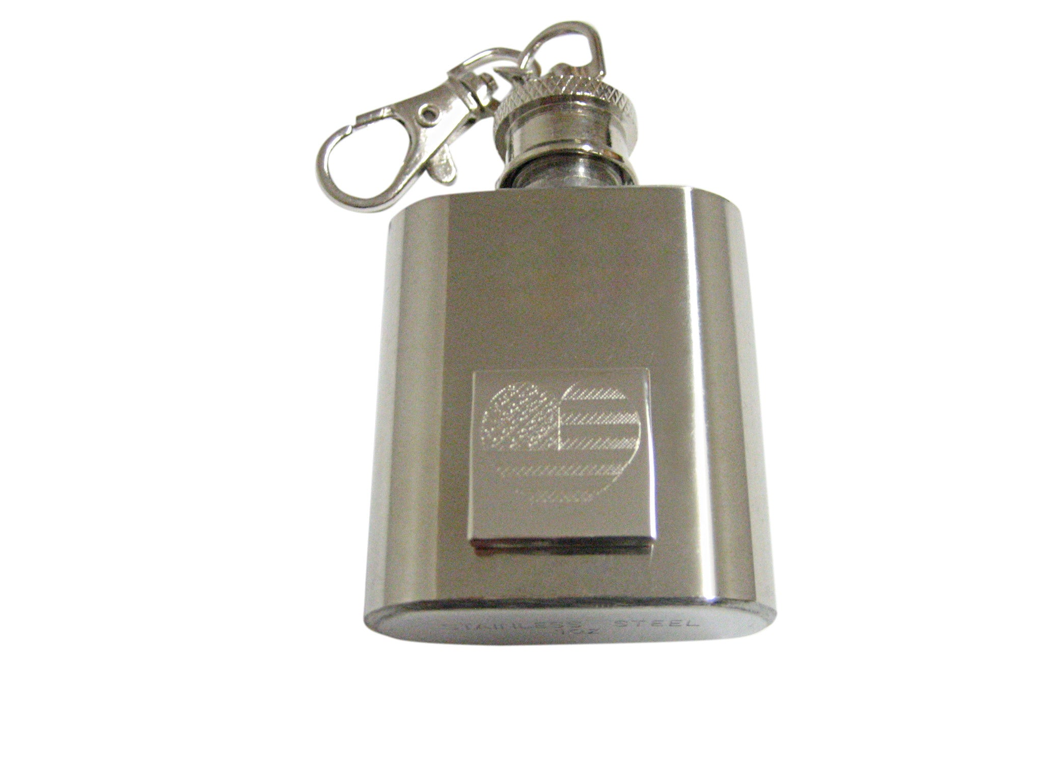 Silver Toned Etched Heart Shaped American Flag 1 Oz. Stainless Steel Key Chain Flask