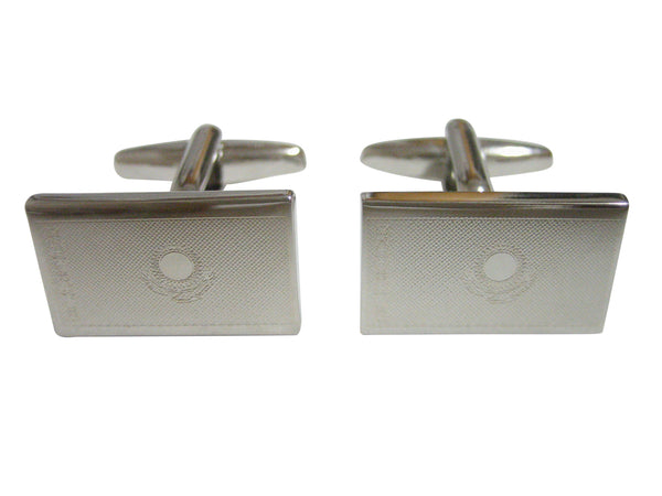 Silver Toned Etched Kazakhstan Flag Cufflinks