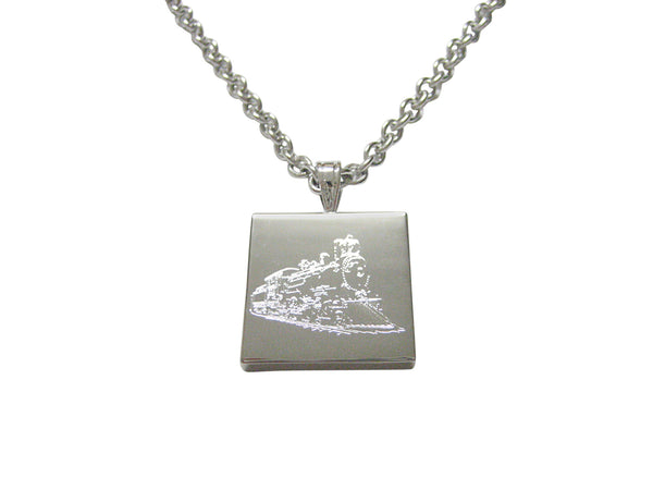 Silver Toned Etched Locomotive Train Necklace