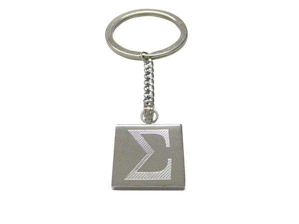 Gold Toned Etched Mathematical Greek Sigma Symbol Square Tie Clip