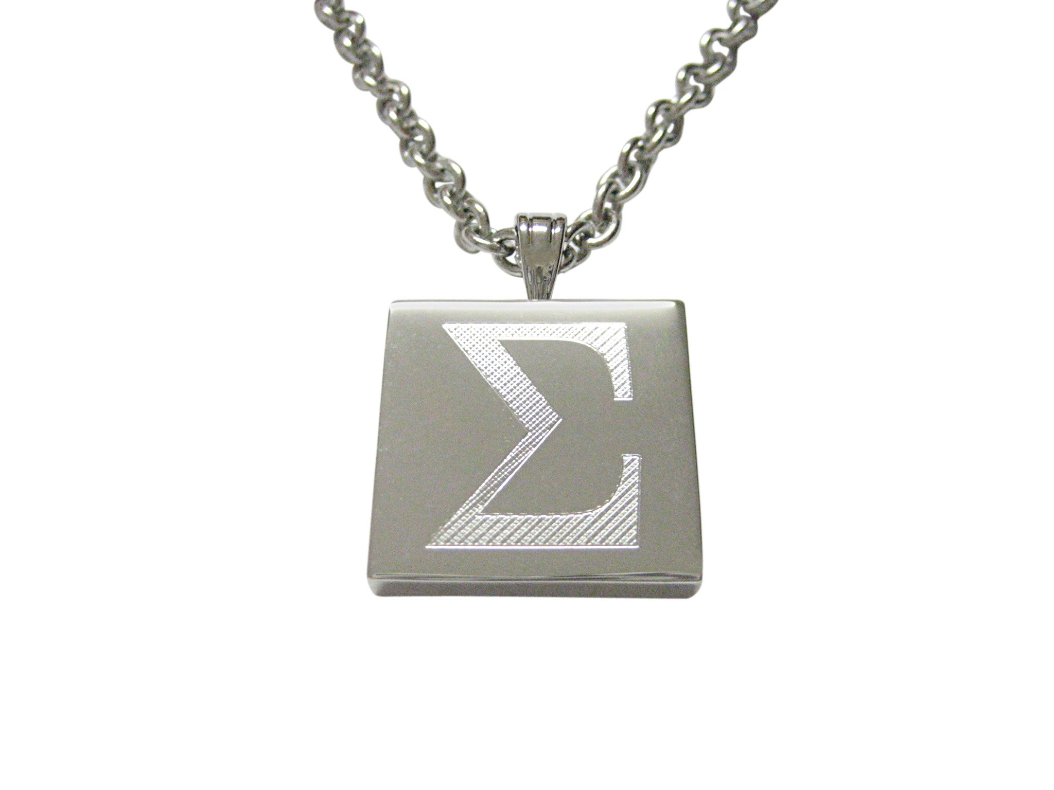 Silver Toned Etched Mathematical Greek Sigma Symbol Pendant Necklace