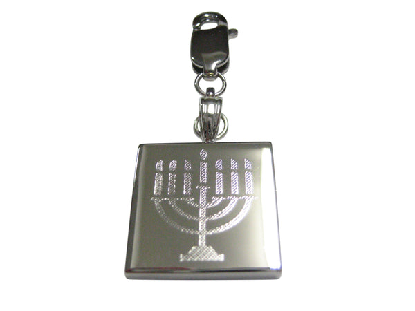 Silver Toned Etched Menorah Pendant Zipper Pull Charm