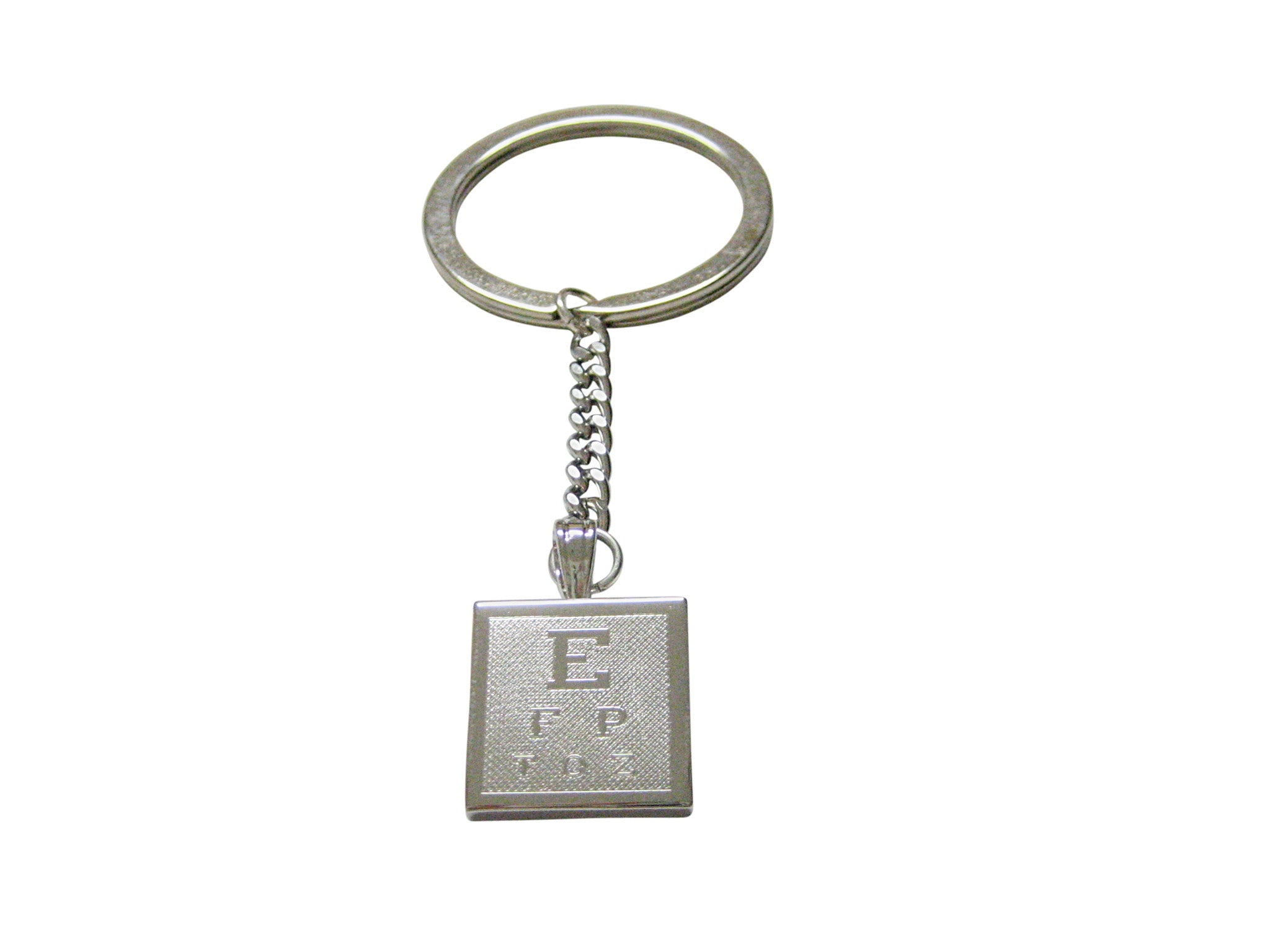 Silver Toned Etched Optometrist Pendant Keychain