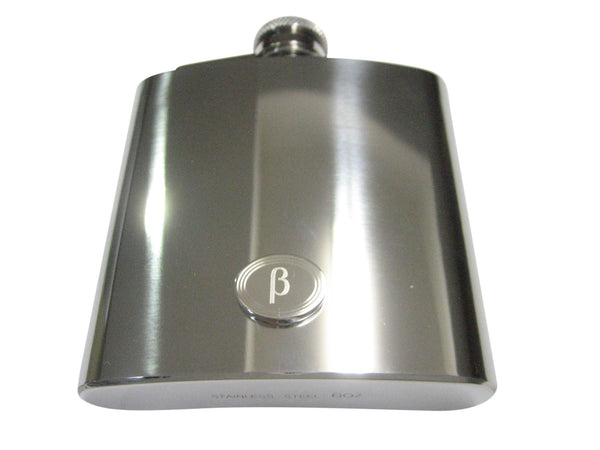 Silver Toned Etched Oval Greek Letter Beta Pendant 6oz Flask