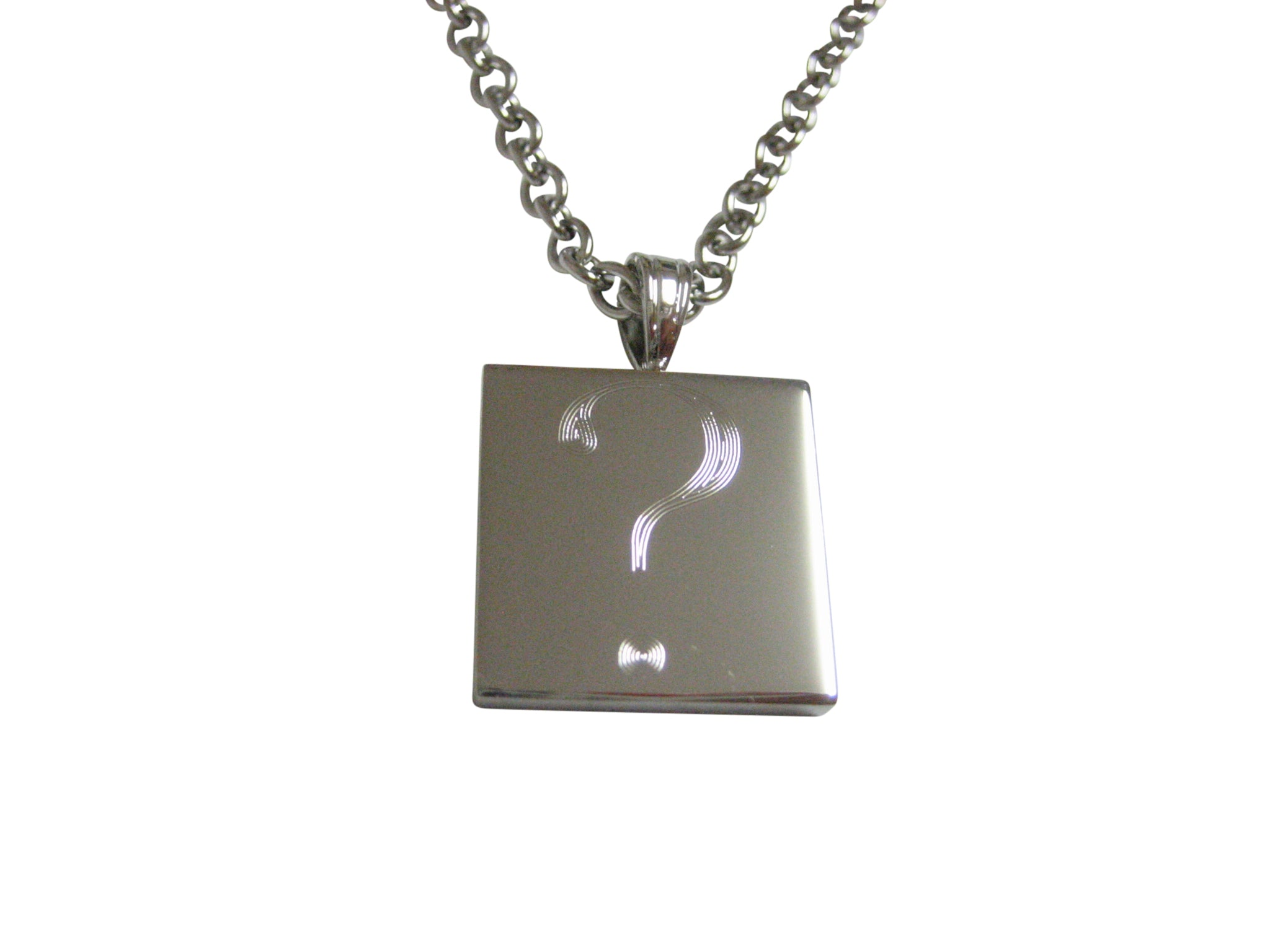 Silver toned etched question mark pendant necklace kiola designs aloadofball Image collections