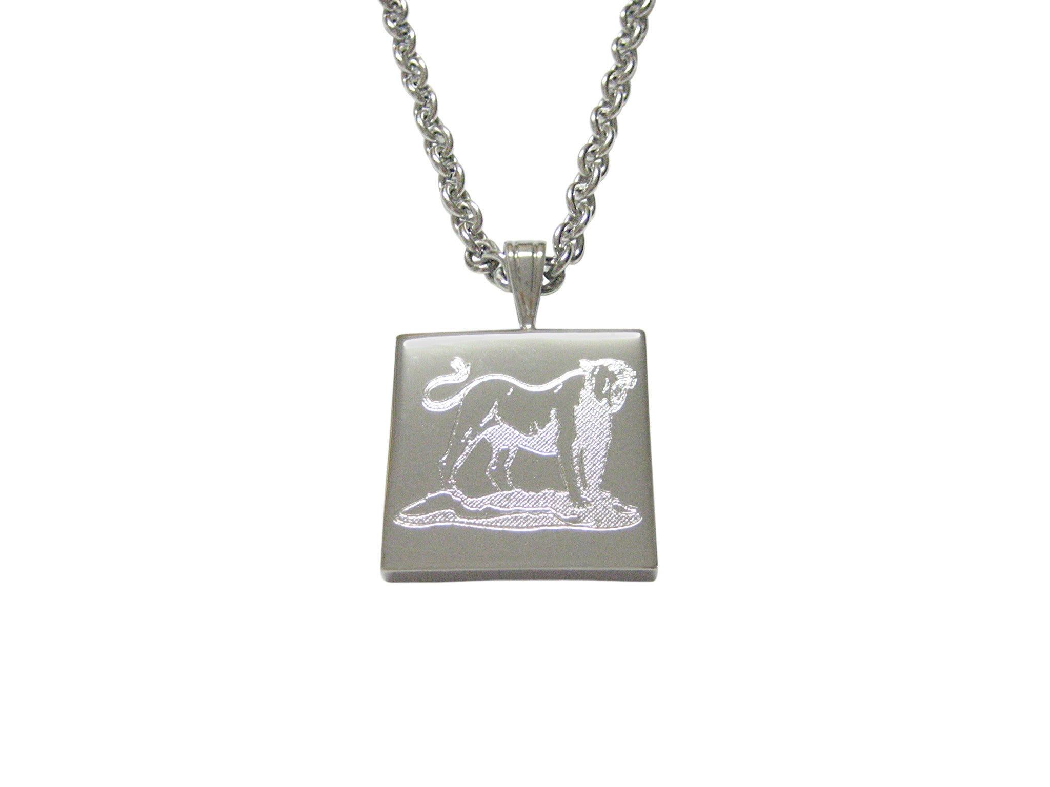 Silver Toned Etched Roaring Lioness Pendant Necklace