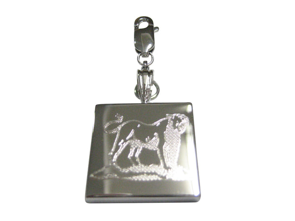 Silver Toned Etched Roaring Lioness Pendant Zipper Pull Charm