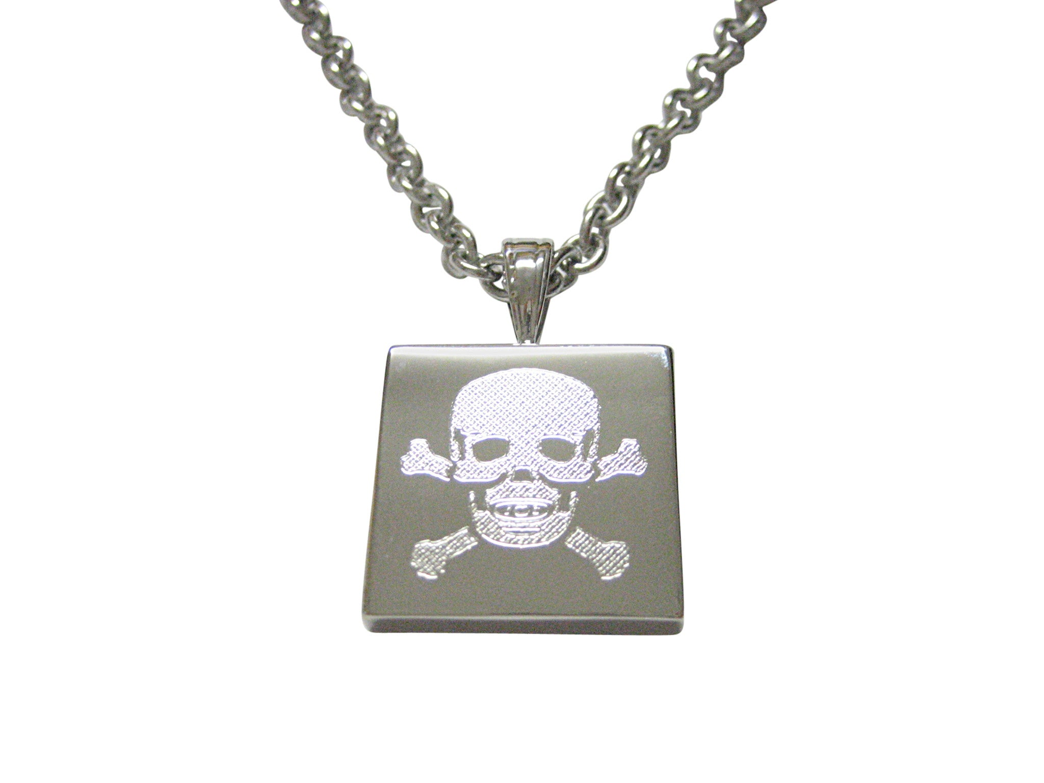 Silver Toned Etched Skull and Crossbones Pendant Necklace