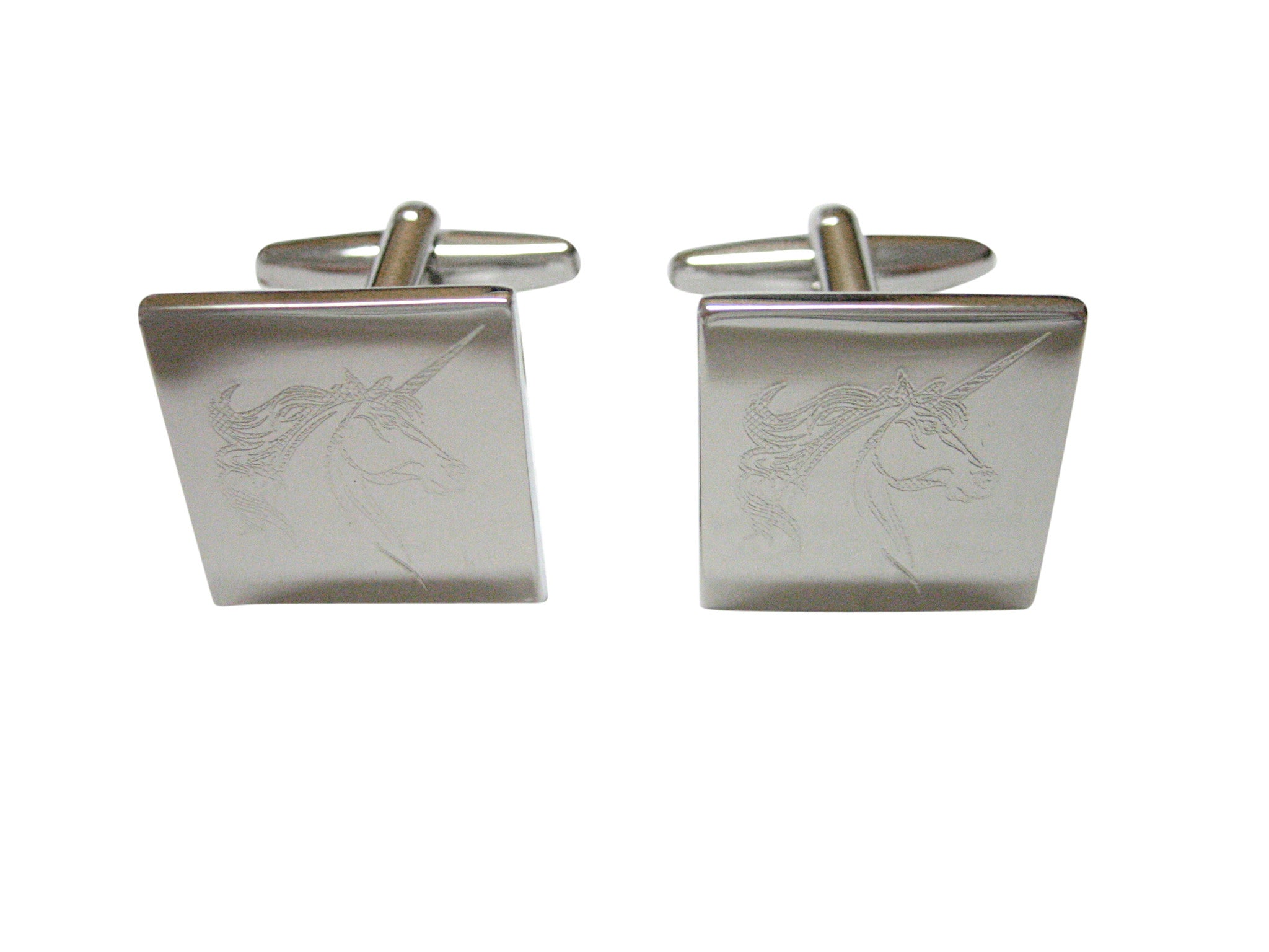 Silver Toned Etched Unicorn Head Cufflinks